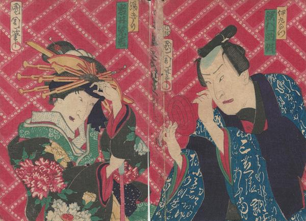 Toyohara KUNICHIKA (Giappone, 1835 – 1900) – DUE ATTORI DEL TEATRO KABUKI IN SCENA (1870 circa