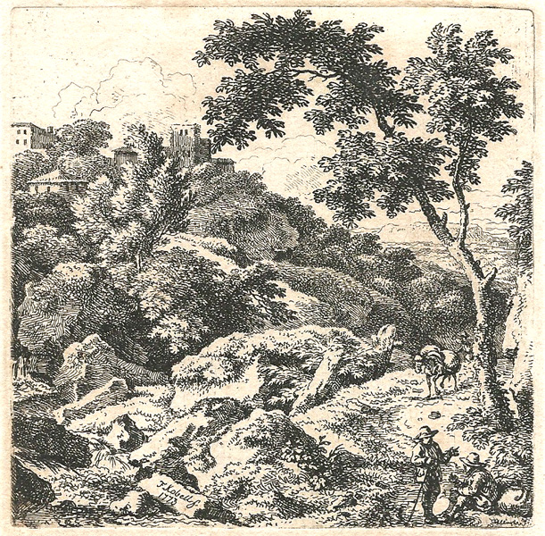 Ferdinand KOBELL (Germania, 1740 – 1799) – VIANDANTI CHE CONVERSANO (1773)