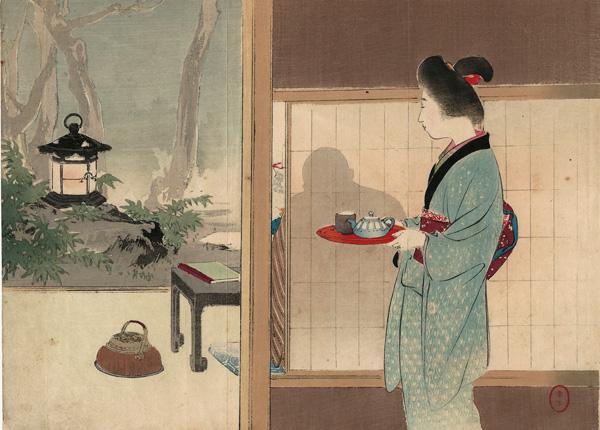 Mizumo TOSHIKATA (1866 – 1908) – DONNA CHE PORTA IL TE (1890 circa)