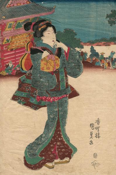 Utagawa KUNISADA (Giappone, 1786 – 1864) – GEISHA CHE PORTA UNA HYOTAN (1820 circa)