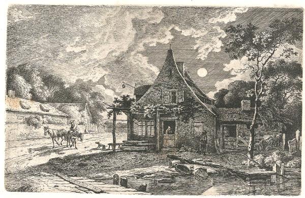 Ferdinand KOBELL (Germania, 1740 – 1799) – PAESAGGIO NOTTURNO (1774)