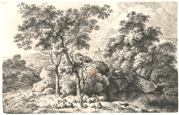 Ferdinand KOBELL (Germania, 1740 – 1799) – PASTORE CON GREGGE (1778)