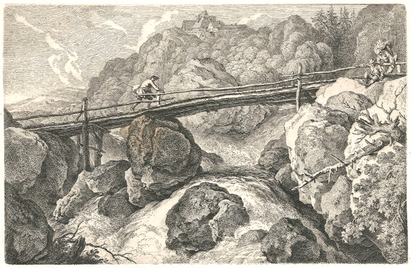 Ferdinand KOBELL (Germania, 1740 – 1799) – PONTE SUL TORRENTE