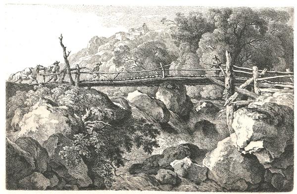 Ferdinand KOBELL (Germania, 1740 – 1799) – IL PONTE SUL TORRENTE