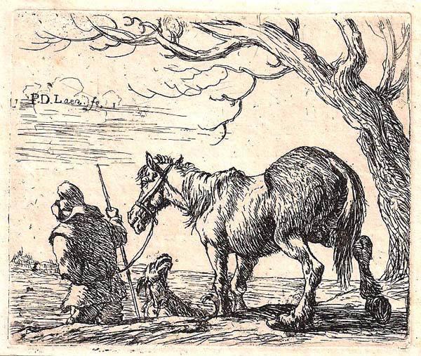 Pieter van LAER (Olanda, 1600 – c.a 1650) – CONTADINO CHE CONDUCE IL SUO CAVALLO