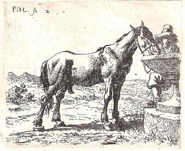 Pieter van LAER (Olanda, 1600 – c.a 1650) – CAVALLO VICINO ALLA MANGIATOIA