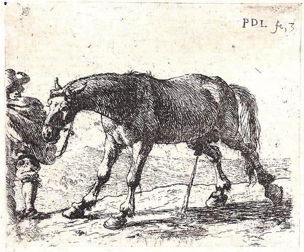 Pieter van LAER (Olanda, 1600 – c.a 1650) – CAVALLO CHE ORINA