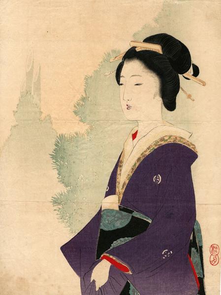 Takeuchi KEISHU (Giappone, 1861 – 1942) – GEISHA DI EDO (1904)