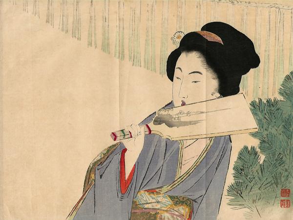 Takeuchi KEISHU (Giappone, 1861 – 1942) – RAGAZZA CHE GIOCA A VOLANO (1901)