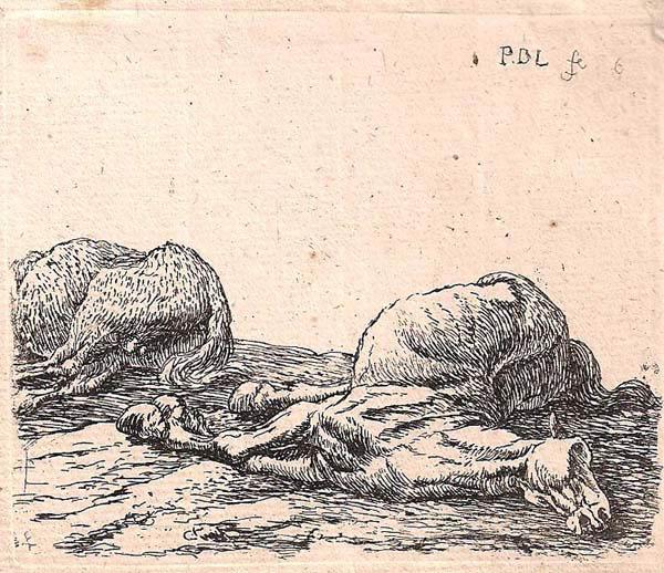Pieter van LAER (Olanda, 1600 – c.a 1650) – DUE CAVALLI MORTI