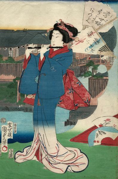 Utagawa KUNISADA II (Giappone, 1828 – 1880) – DONNA CHE SUONA IL FLAUTO (1867)
