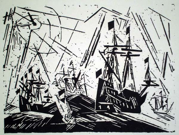 Lyonel FEININGER (Stati Uniti, 1871 – 1956) – HANSAFLOTTE (1918)