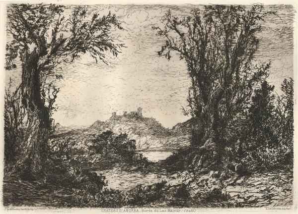 Giberto BORROMEO (Milano, 1815 – 1895) – CHATEAU D'ANGERA. BORDS DU LAC MAJEUR