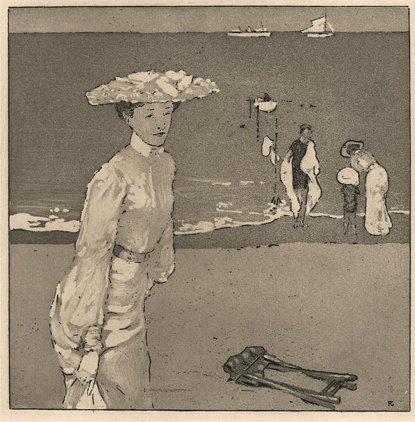 Raoul DU GARDIER (Germania, 1871 – 1952) – FEMME EN BLANC SUR LA PLAGE
