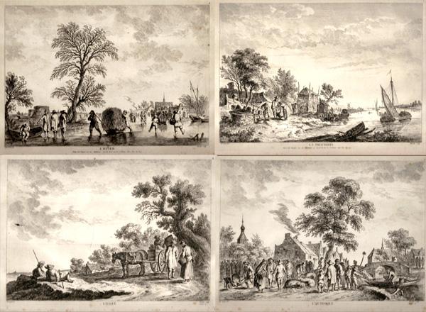 Franz Edmund WEIROTTER (Austria, 1733 – 1771) – LE QUATTRO STAGIONI da Van Goyen (1760)