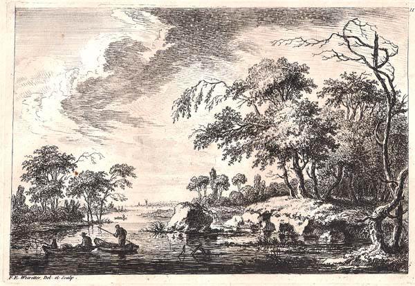 Franz Edmund WEIROTTER (Austria, 1733 – 1771) – PESCATORI SU UNA BARCA