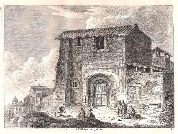 Franz Edmund WEIROTTER (Austria, 1733 – 1771) – VICINO RIPA GRANDE A ROMA