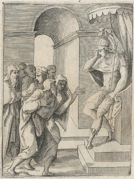 Giulio BONASONE (Bologna, circa 1498 – 1580) – ALESSANDRO IL GRANDE COME GIUDICE