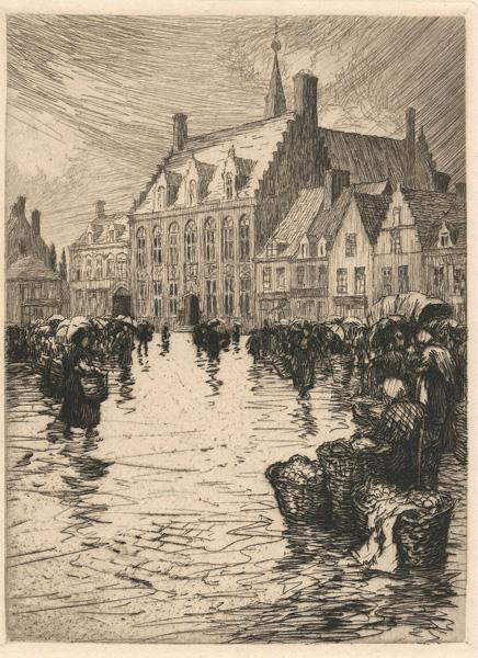 Paul Adrien BOUROUX (Francia, 1878 – 1967) – LA PLACE ET L'HOTEL DE VILLE DE HANDSCHOOTE