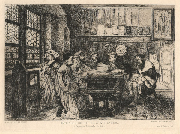Henri LEYS (Francia, 1815 – 1869) – INTÉRIEUR DE LUTHER A WITTENBERG