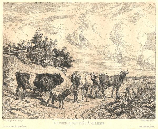 Amedée Elie SERVIN (Francia, 1828 – 1885 circa) – LE CHEMIN DES PRÉS A VILLIERS