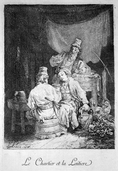 Jean-Baptiste LE PRINCE (Francia, 1734 – 1781) – LE CHARTIER ET LA LAITIERE (1768