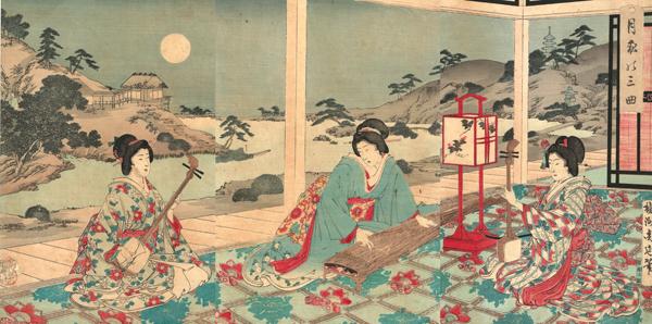 Hashimoto CHIKANOBU (Giappone, 1838 – 1912) – CONCERTO SANKYOKU SOTTO LA LUNA (1883)