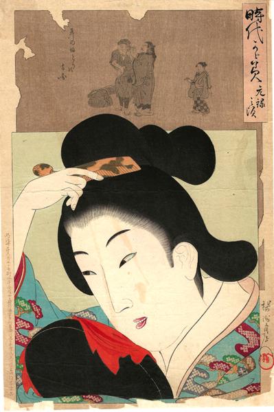 Hashimoto CHIKANOBU (Giappone, 1838 – 1912) – RAGAZZA DELL'ERA GENROKU CON LA PULIZIA DELLE ORECCHIE (1897)