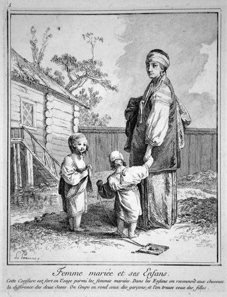 Jean-Baptiste LE PRINCE (Francia, 1734 – 1781) – FEMME MARIEE ET SES ENFANTS
