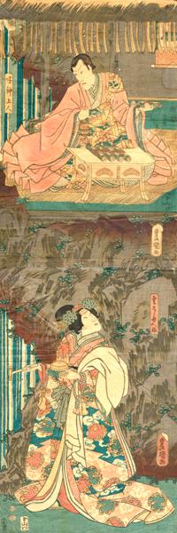 Utagawa KUNISADA (Giappone, 1786 – 1864) – GLI ATTORI ICHIKAWA DANJURO VIII NELLA PARTE DI NARUKAMI SHONIN E BANDO SHUKA I NELLA PARTE DI KUMO NO TAEMA (1851)