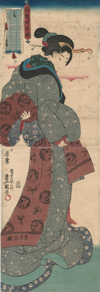 Utagawa KUNISADA (Giappone, 1786 – 1864) – BELLEZZA CHE SI ANNODA L'OBI (1844-45)
