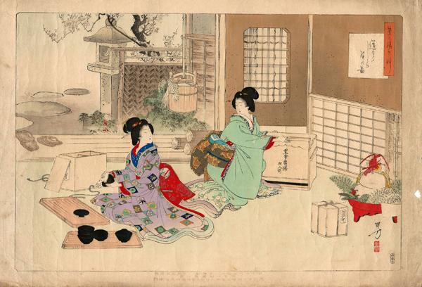 Mizumo TOSHIKATA (1866 – 1908) – LA SCELTA DEGLI STRUMENTI PER LA CERIMONIA DEL TE (1896)