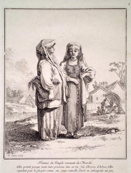Jean-Baptiste LE PRINCE (Francia, 1734 – 1781) – FEMMES DU PEUPLE REVENANT DU MARCH