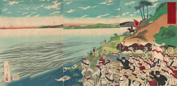 Utagawa TOSHIMASA (1866-1913) – L'ARMATA GIAPPONESE SI PREPARA AD ATTRAVERSARE IL FIUME TAEDONG (1894)
