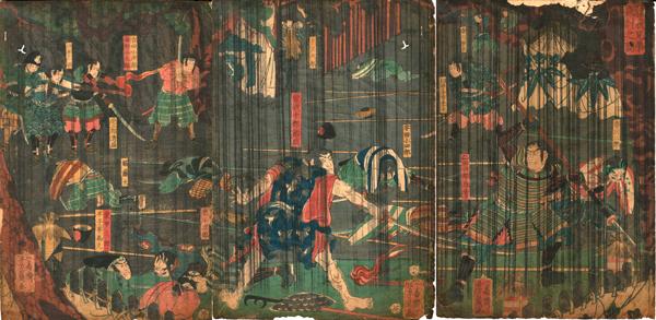 Utagawa YOSHIKAZU (1850-70) – BATTAGLIA NOTTURNA SOTTO LA PIOGGIA (1858)
