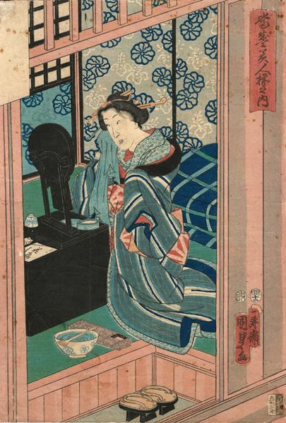 Utagawa KUNISADA II (Giappone, 1828 – 1880) – DONNA DAVANTI ALLO SPECCHIO (1855)