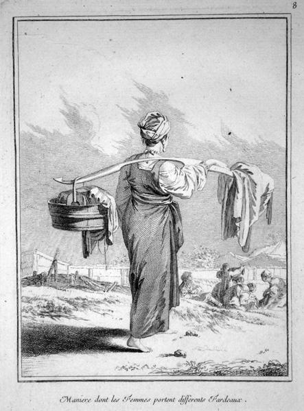 Jean-Baptiste LE PRINCE (Francia, 1734 – 1781) – MANIERE DONT LES FEMMES PORTENT DIFFERENTS FARDEAUX