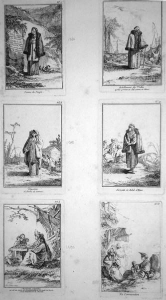 Jean-Baptiste LE PRINCE (Francia, 1734 – 1781) – DIVERS HABILLEMENTS DES FEMMES DE MOSCOVIE (1764)