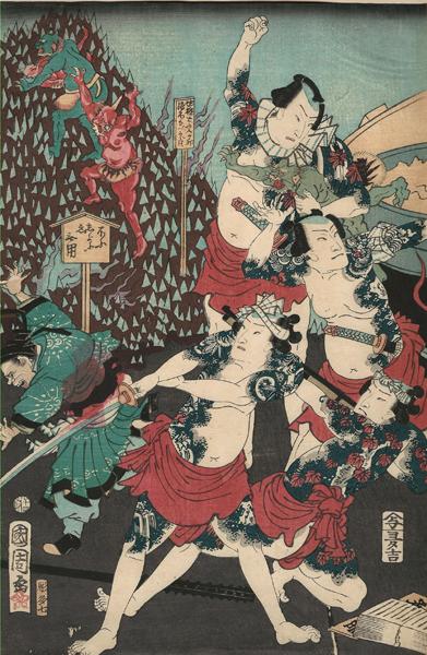 Toyohara KUNICHIKA (Giappone, 1835 – 1900) – GLI EROI DEL SUIKODEN ALL'INFERNO (1864)