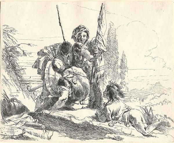 Giovanbattista TIEPOLO (Venezia, 1696 – 1770) – TRE SOLDATI E UN RAGAZZO DISTESO