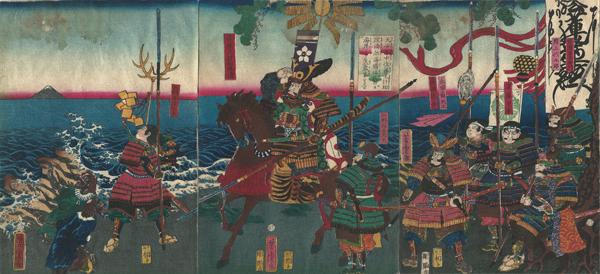 Utagawa YOSHITORA (1850 – 1880) – KATO KIYOMASA SI VOLGE AL MONTE FUJI DALLA SPIAGGIA CORENA (1860)