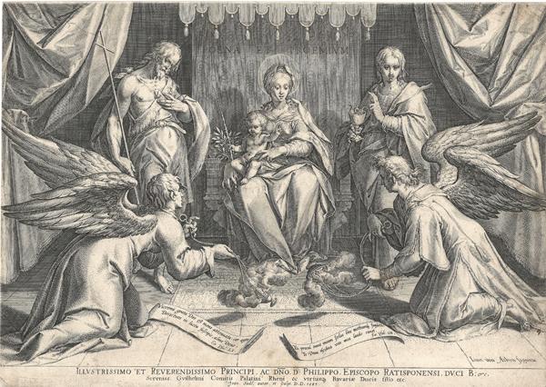 Ian SADELER (Fiandre, 1550 – 1600) – LA VERGINE MARIA CON DUE SANTI