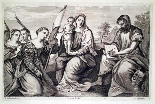 Peter Van LISEBETTEN (Fiandre, 1630 – 1678) – LA VERGINE COL BAMBINO CIRCONDATA DA SANTI da Palma il vecchio