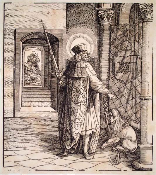 Leonhard BECK (Baviera, circa 1480 – 1542) – SANTO CON SPADA E LEONE