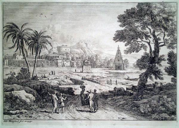 Adrien MANGLARD (Francia, 1695 – 1760) – LE PAYSAGE AUX DEUX PALMIERS (1754)