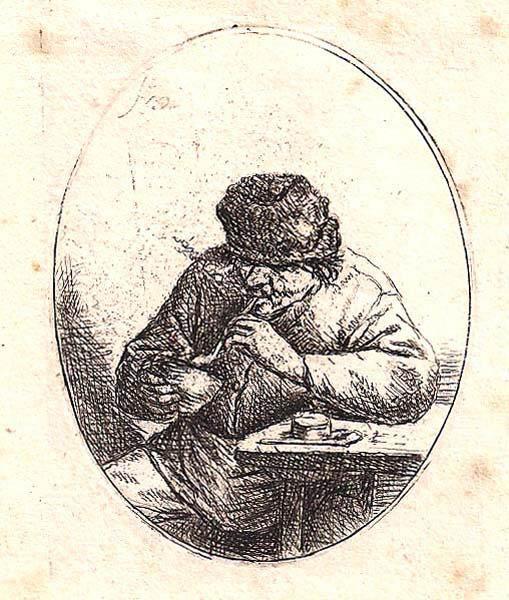 Adriaen Van OSTADE (Olanda, 1610 – 1685) – FUMATORE ACCENDE LA PIPA (1640 circa)