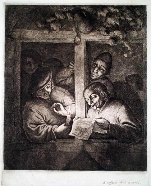 Adriaen Van OSTADE (Olanda, 1610 – 1685) – L'ARRINGA ALLA FINESTRA (1667 circa)