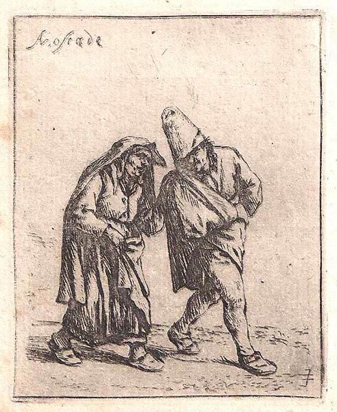 Adriaen Van OSTADE (Olanda, 1610 – 1685) – CONTADINO E CONTADINA (1638 circa)