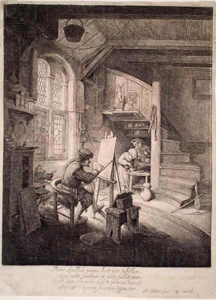 Adriaen Van OSTADE (Olanda, 1610 – 1685) – IL PITTORE (1667 circa)