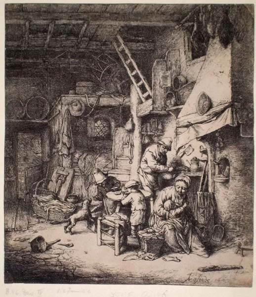 Adriaen Van OSTADE (Olanda, 1610 – 1685) – LA FAMIGLIA (1647)